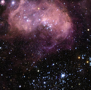 Star formation -  N11, part of a complex network of gas clouds and star clusters within our neighbouring galaxy, the Large Magellanic Cloud.