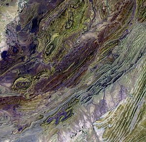 Sulaiman Mountains - Satellite image of a part of the Sulaiman Range.