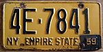 "NEW YORK 1959 LICENSE PLATE, 1958 plate with '59"" tab - Flickr - woody1778a.jpg"
