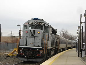 EMD GP40-based passenger locomotives - NJ Transit GP40PH-2 No. 4109 at Essex Street
