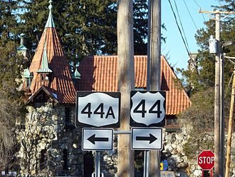 U.S. Route 44 in New York - Signage for former NY 44A in February 2008; signs were not taken down for two more months