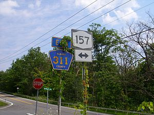 New York State Route 157 - The junction of NY 157 and CR 311 in New Scotland, seen from CR 311