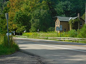 New York State Route 417 - NY 417 westbound with US 219 Business in Carollton