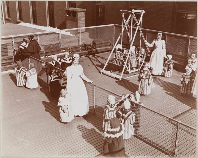 From commons.wikimedia.org: NY Foundling Hospital - Roof Playground - circa 1899 - Byron Company - MNY19551 {MID-140211}