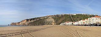 Nazaré, Portugal - Panoramic view of the beach, showing traces of tourism