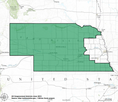 Nebraskas Congressional Districts Wikipedia - Nebrasks us map