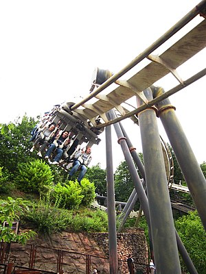 Nemesis (roller coaster) - One of Nemesis' trains exiting the first corkscrew