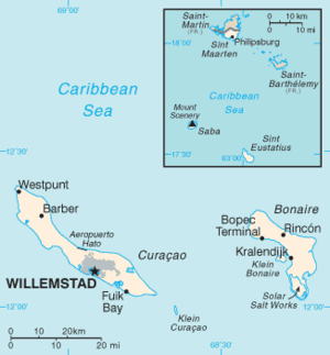 Caribbean Netherlands - Image: Netherlands Antilles CIA WFB Map