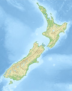 Map of New Zealand with marker in bay of northern island