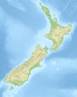Map of New Zealand with mark showing location of Cook Strait