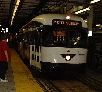 Newark Light Rail - PCC streetcar at Newark Penn Station in 2001, signed as 7 City Subway.
