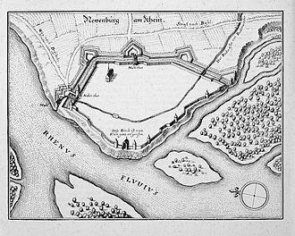 Neuenburg am Rhein - Neuenburg and its location on the Rhine, c. 1660.