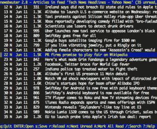 Newsbeuter RSS/Atom feed reader for text terminals