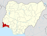Location of Ogun State in Nigeria
