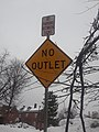 No Outlet No Parking Between Signs signs downtown St. Johnsbury VT December 2018.jpg