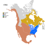Map showing Non-Native Nations Claim_over NAFTA countries c. 1783
