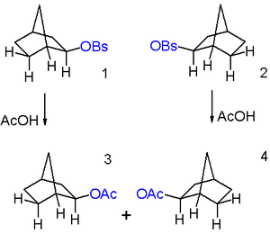 2-Norbornyl cation - Figure 7: Acetolysis of a single enantiomer of 2-exo-norbornyl brosylate leads to a racemic mixture of 2-exo-norbornyl acetate.
