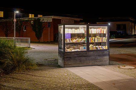Bookcase at Onnen-Visser-Platz, Norderney, Lower Saxony, Germany