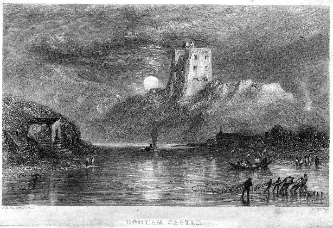 filenorham castle moonrise engraving by william miller