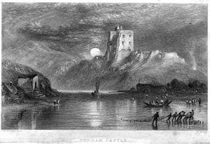 Norham Castle - Norham Castle, 1836, moonrise engraving by William Miller after J. M. W. Turner