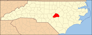National Register of Historic Places listings in Harnett County, North Carolina - Image: North Carolina Map Highlighting Harnett County