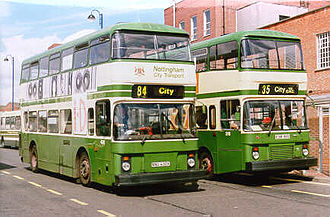 Nottingham City Transport - Between 1966 and 1988, Nottingham City Transport specified its own design of bodywork on double-decker buses from several different manufacturers, like this Northern Counties bodied Leyland Atlantean and East Lancashire bodied Volvo B10M