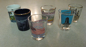 Shot glass - Shot glasses with a variety of designs. Shot glasses such as these are often collected as novelty items.