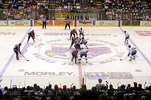 A typical faceoff at centre ice