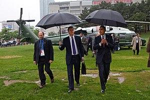 English: US President Barack Obama and UK Prim...
