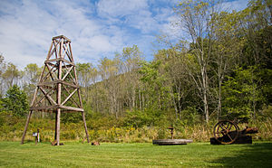Oil Creek State Park - A historic recreation of a wooden oil derrick at Oil Creek State Park