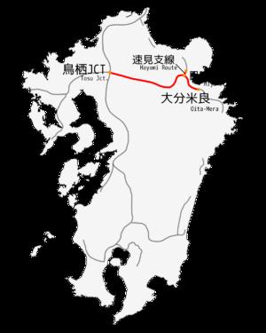 Ōita Expressway - Image: Oita Express way map