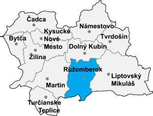 Liptovská Osada - Location of Ružomberok District in the Zilina Region