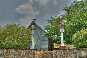 "Roxboro, North Carolina - Old pumps at Stuart's Family Grill - ""Dog House"""