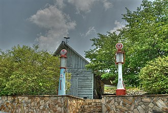 "Roxboro, North Carolina - Old pumps at Stuart's Family Grill - ""Dog House"""