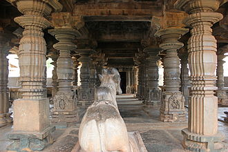 Western Chalukya Empire - Ornate mantapa at Kalleshvara Temple (987 CE) in Bagali, Davanagere district