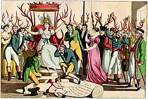 Cuckold - c. 1815 French satire on cuckoldry, which shows both men and women wearing horns