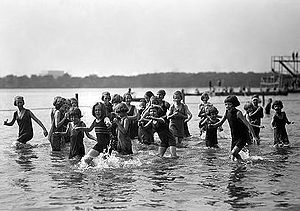 Tidal Basin - Orphans playing in the Tidal Basin circa 1924