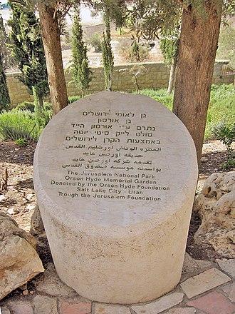 Orson Hyde - Stone marker at the Orson Hyde Memorial Garden in Jerusalem