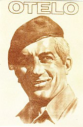 Cartel de campaña de un sonriente Otelo Saraiva de Carvalh