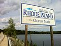 "Pachaug Trail - ""Welcome to Rhode Island sign"" at Beach Pond, Hope Valley, RI.jpg"