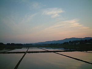 Akita, Akita - A sunset in the northern outskirts of Akita City
