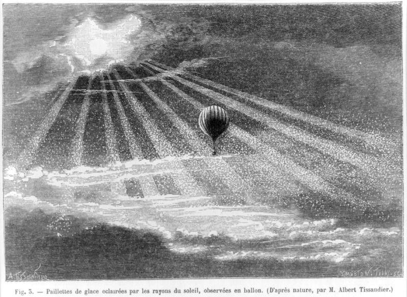 Paillettes de glace eclairées par les rayons du soleil observées en ballon