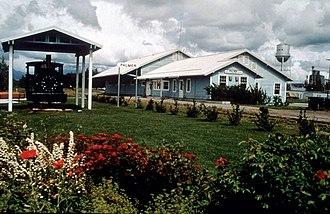 Palmer, Alaska - Palmer depot with a narrow gauge locomotive.