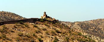 Panoramic view of fort boundry of amer fort.jpg