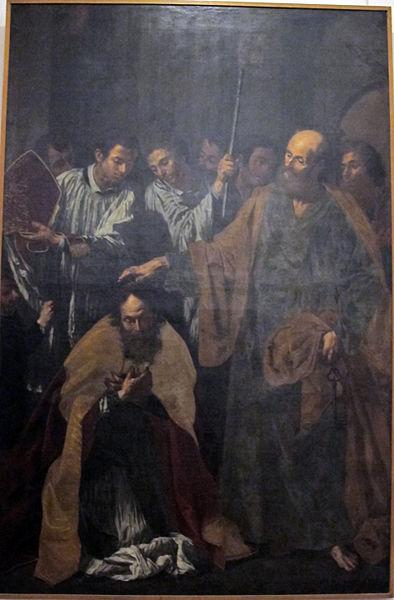 File:Paolo finoglia, san pietro consacra vescovo s. aspreno, 1635 ca., da cattedrale di pozzuoli.JPG