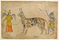 Pari holding a unique animal. 19th cent. Rajput style Bhopal museum.JPG