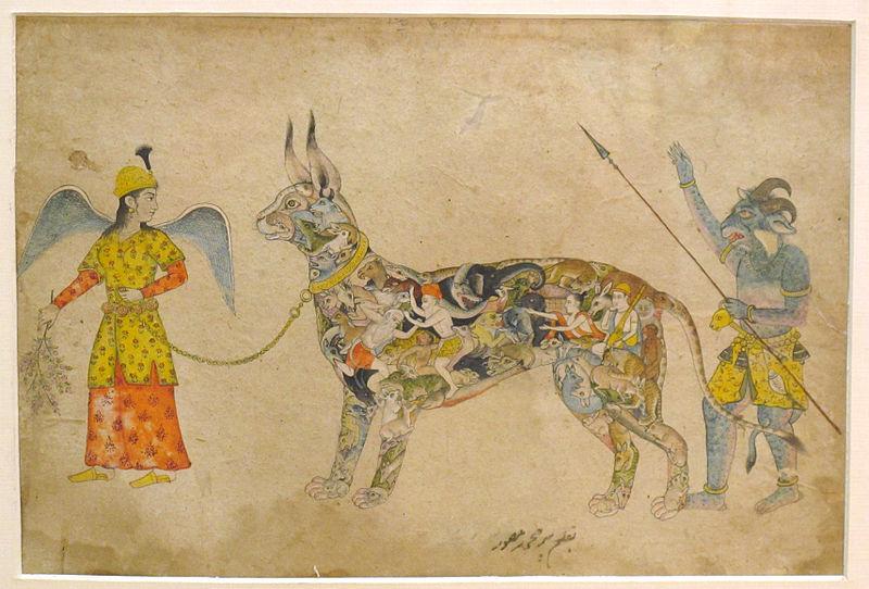 File:Pari holding a unique animal. 19th cent. Rajput style Bhopal museum.JPG