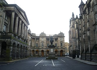 Parliament House, Edinburgh - Parliament Square, Edinburgh, showing the Signet Library behind the statue of Charles II. The entrance to Parliament House is in the corner to the left of the library.