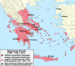 Achaeans (Homer) - Map of Mycenaean cultural areas, 1400-1100 BC (unearthed sites in red dots).