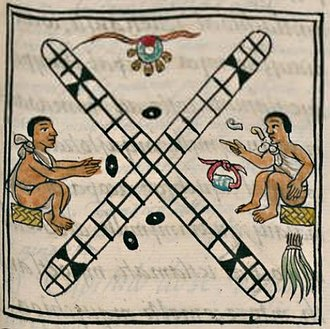Patolli - Patolli as depicted in Bernardino de Sahagún's General History of the Things of New Spain. Skilled players had their own game mats and their own playing pieces that they brought in tied cloth bundles.